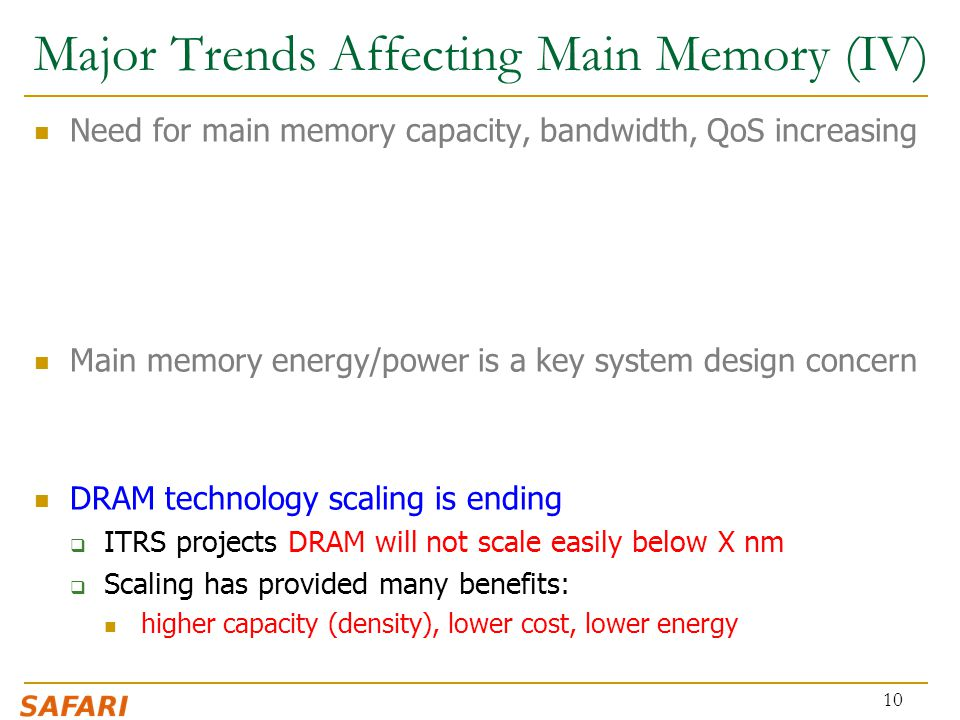Major Trends Affecting Main Memory (IV)