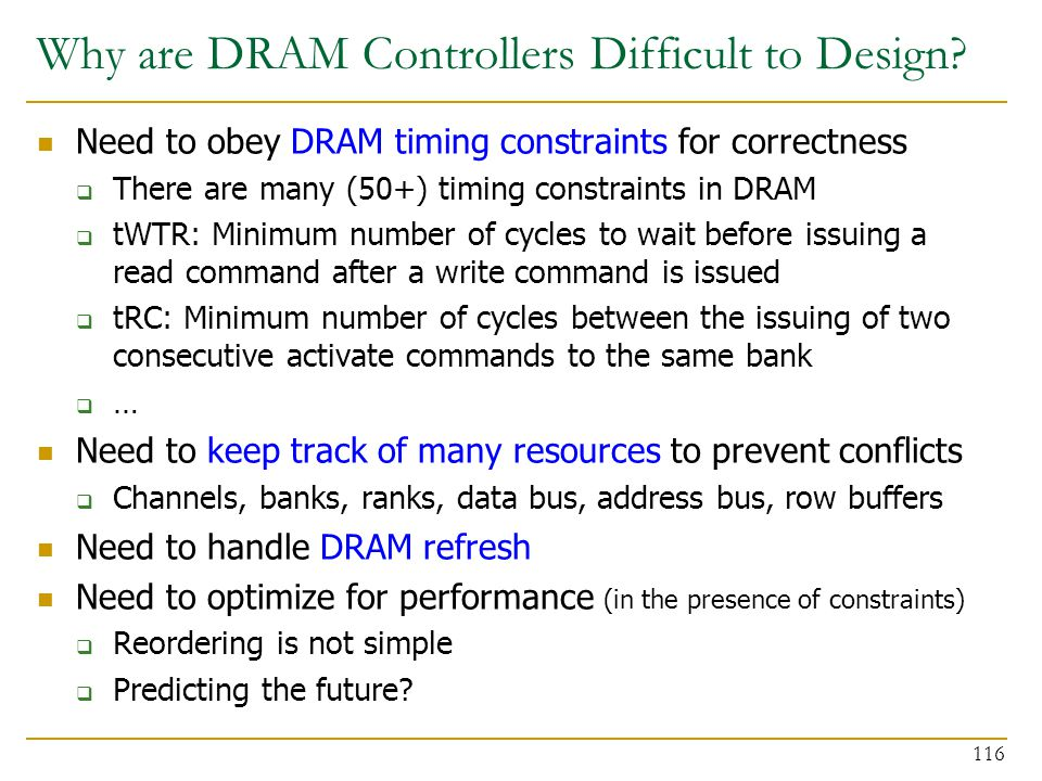 Why are DRAM Controllers Difficult to Design