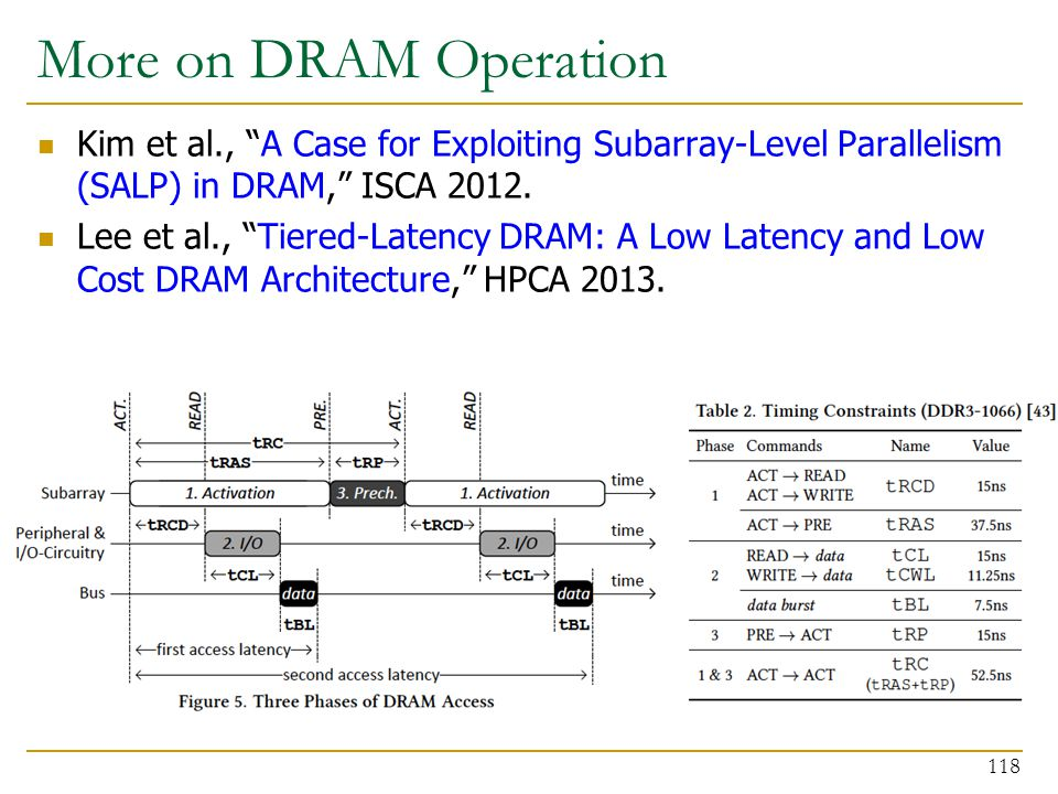 More on DRAM Operation Kim et al., A Case for Exploiting Subarray-Level Parallelism (SALP) in DRAM, ISCA 2012.