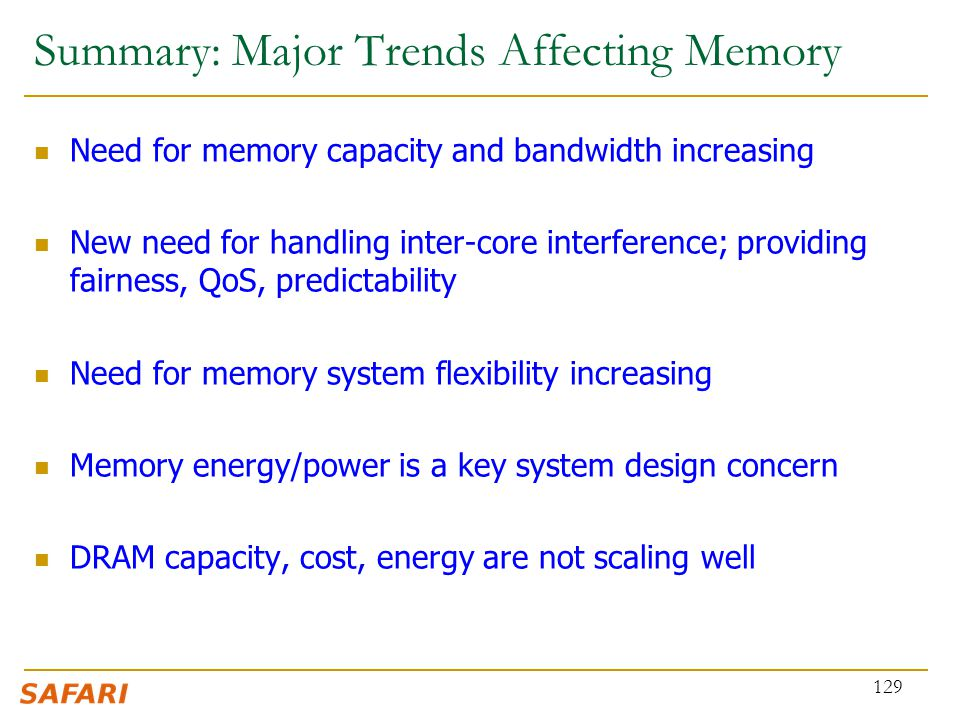 Summary: Major Trends Affecting Memory