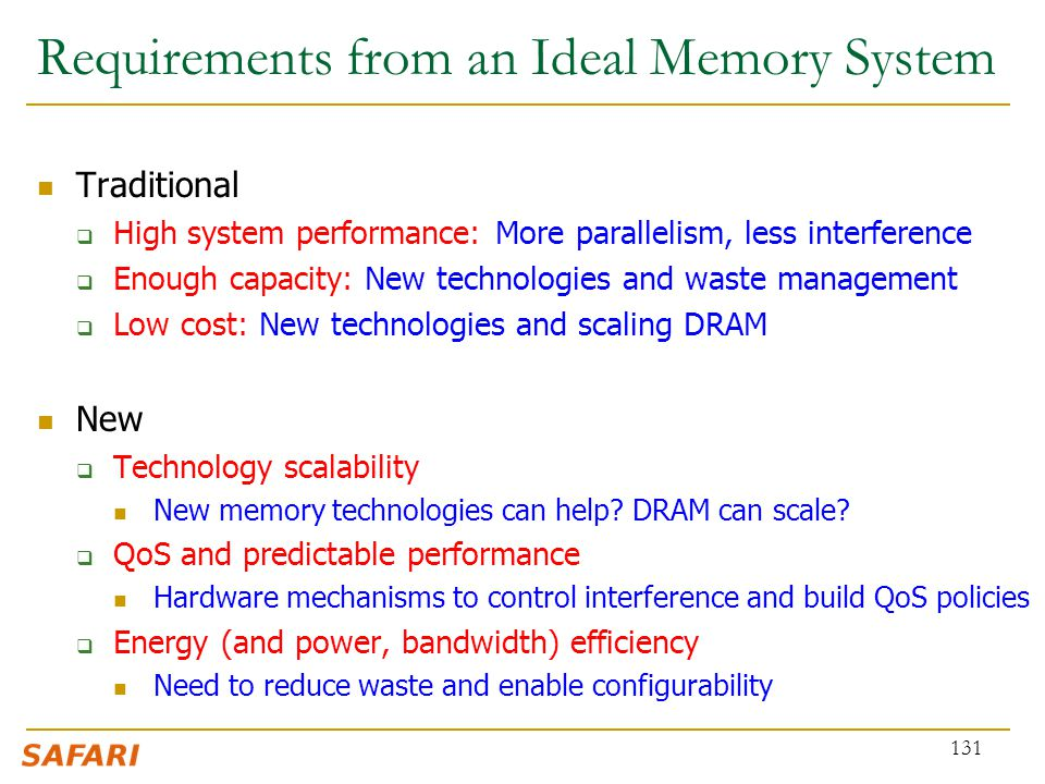 Requirements from an Ideal Memory System
