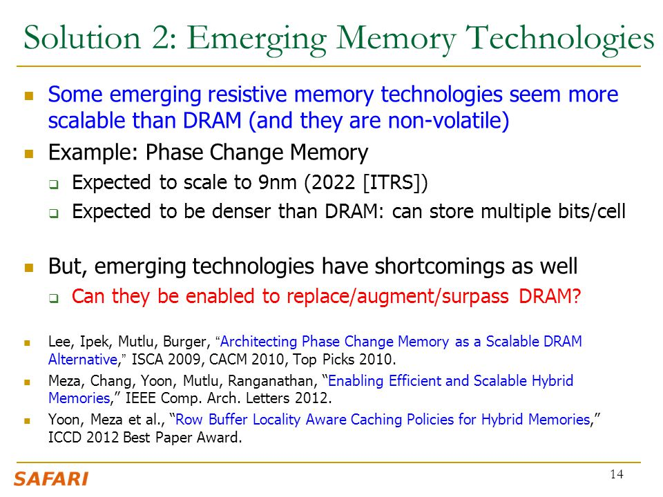 Solution 2: Emerging Memory Technologies