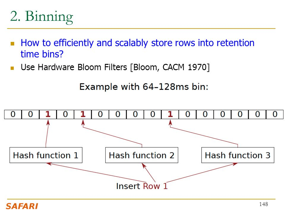 2. Binning How to efficiently and scalably store rows into retention time bins.