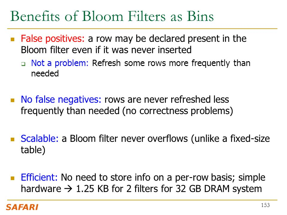 Benefits of Bloom Filters as Bins