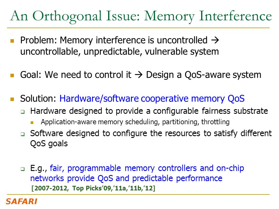 An Orthogonal Issue: Memory Interference