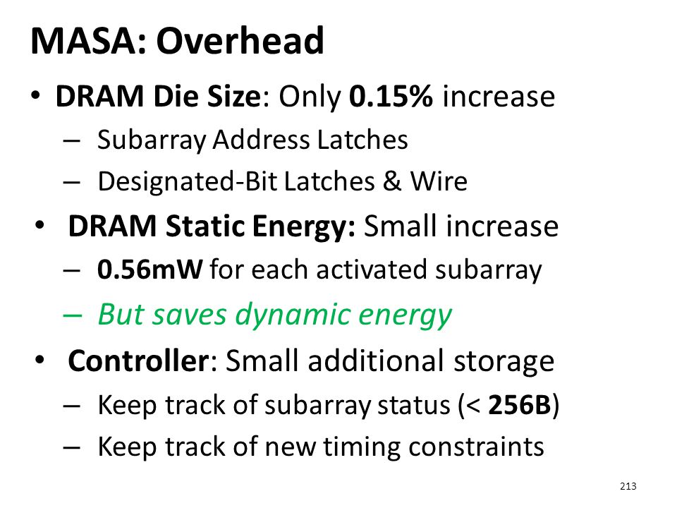 MASA: Overhead DRAM Die Size: Only 0.15% increase