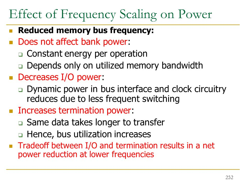 Effect of Frequency Scaling on Power