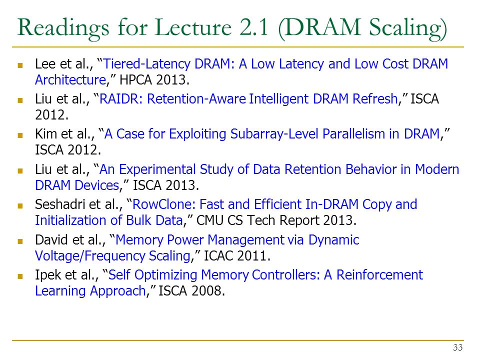 Readings for Lecture 2.1 (DRAM Scaling)