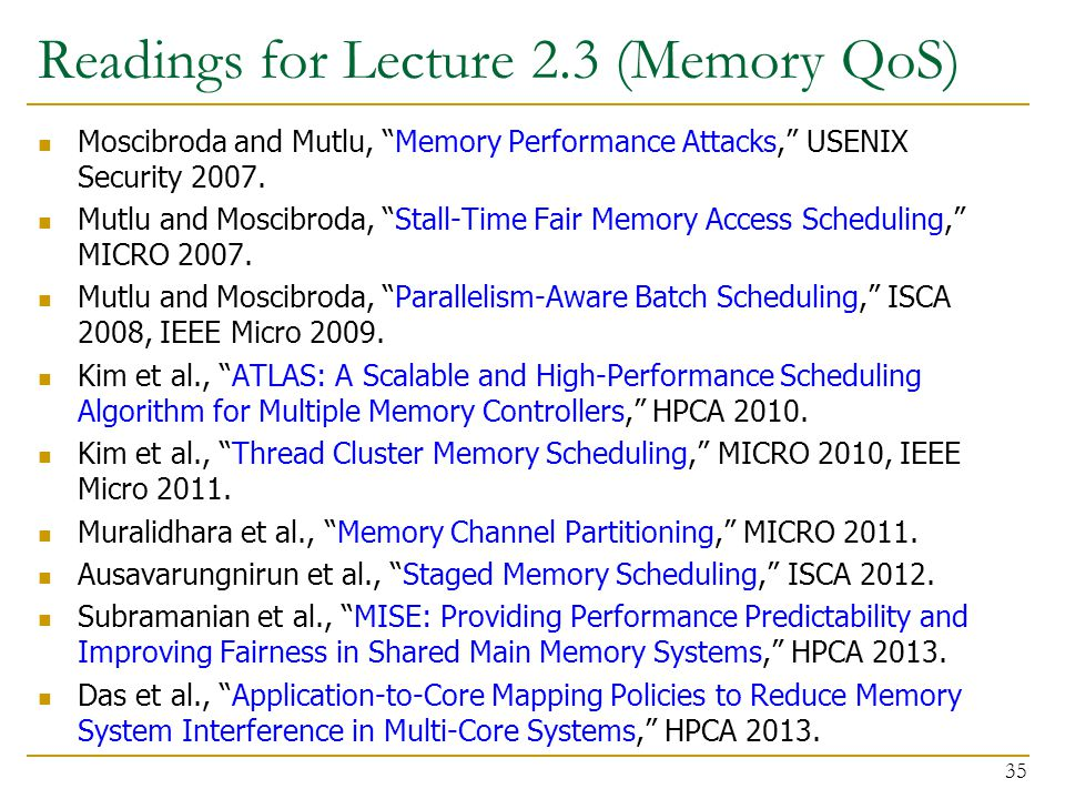 Readings for Lecture 2.3 (Memory QoS)