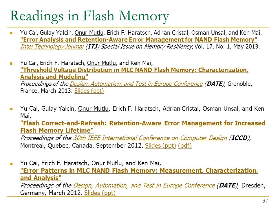 Readings in Flash Memory