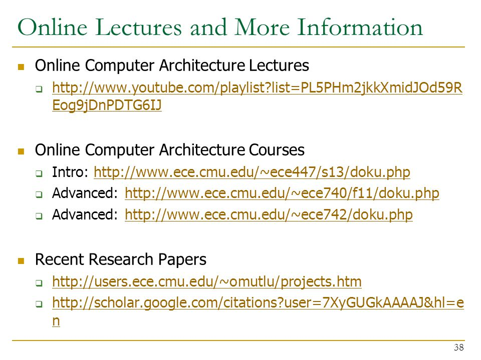 Online Lectures and More Information