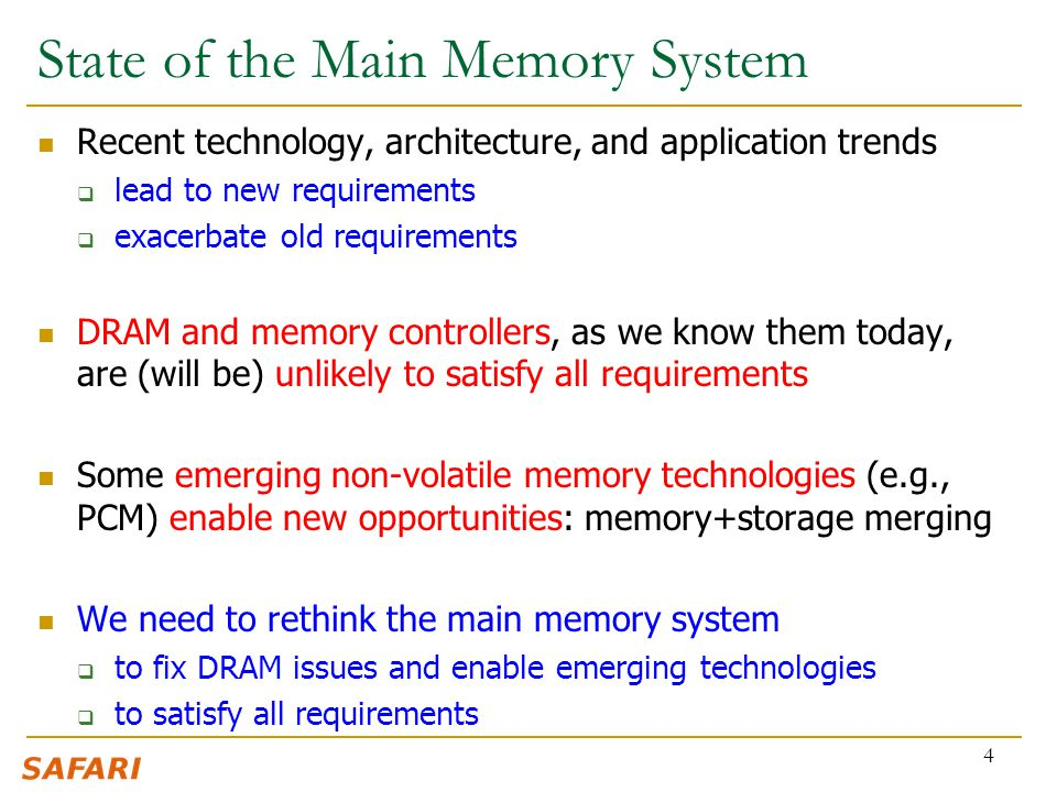 State of the Main Memory System