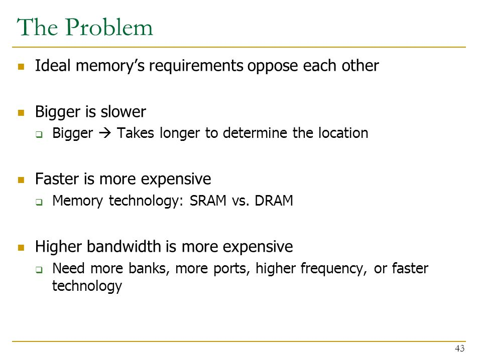 The Problem Ideal memory's requirements oppose each other