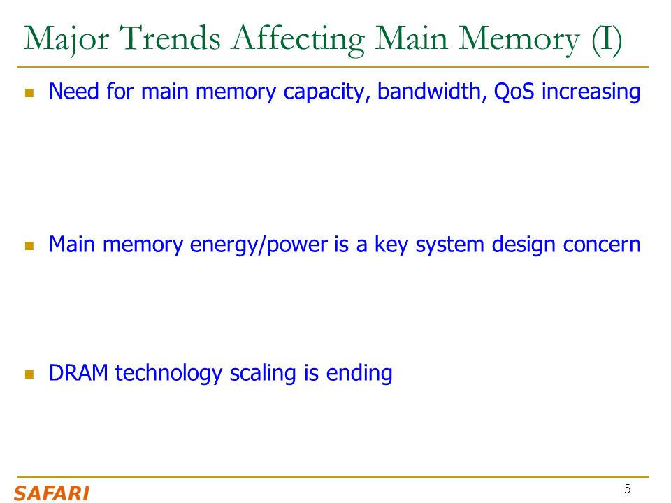 Major Trends Affecting Main Memory (I)