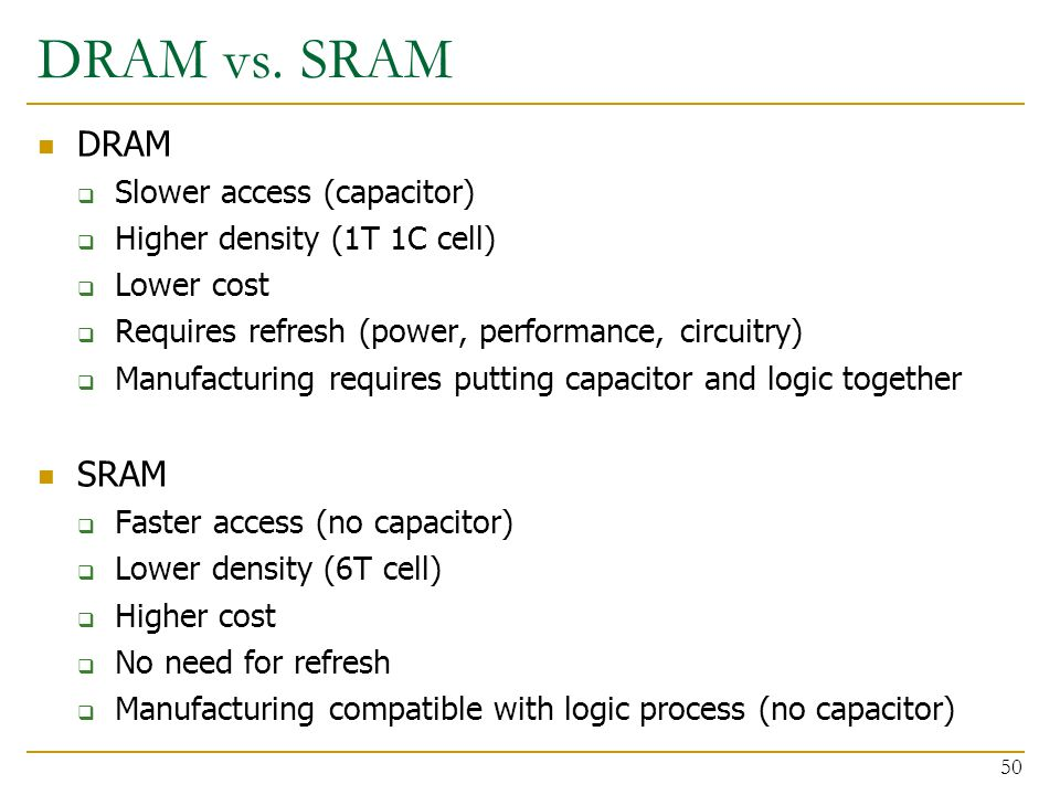 DRAM vs. SRAM DRAM SRAM Slower access (capacitor)
