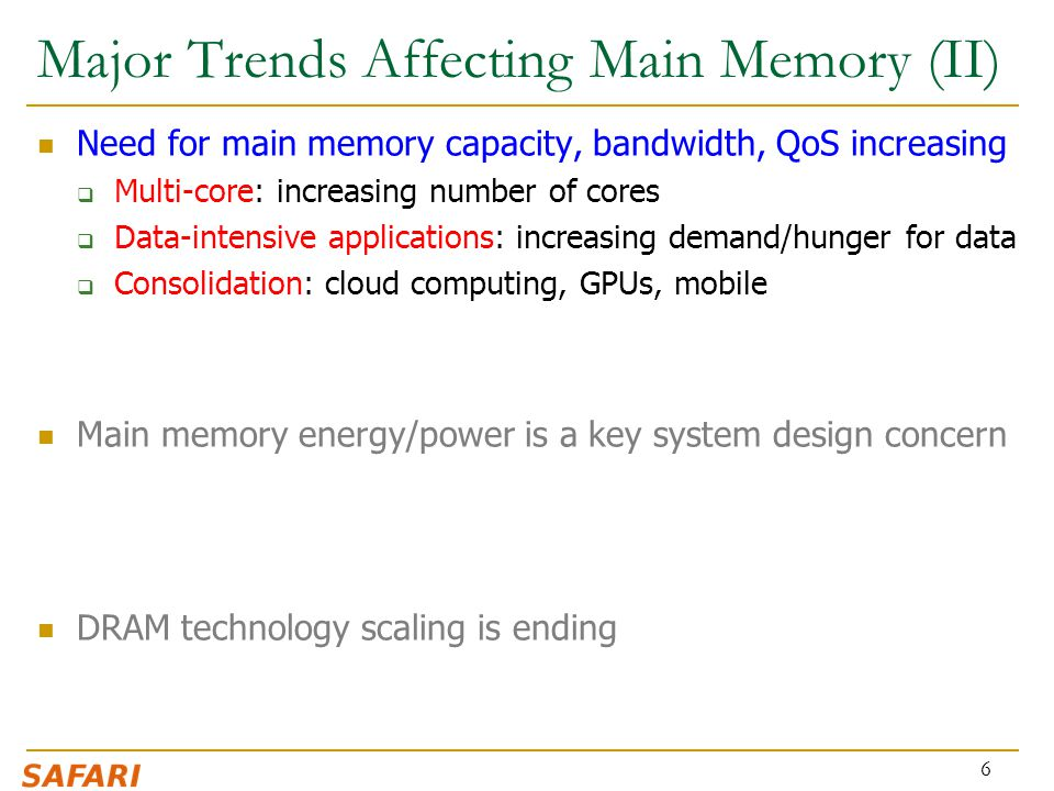 Major Trends Affecting Main Memory (II)