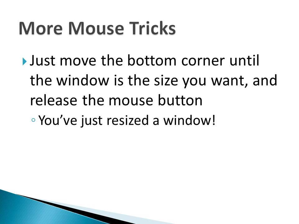 More Mouse Tricks Just move the bottom corner until the window is the size you want, and release the mouse button.
