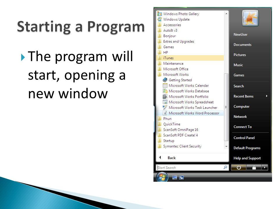 Starting a Program The program will start, opening a new window