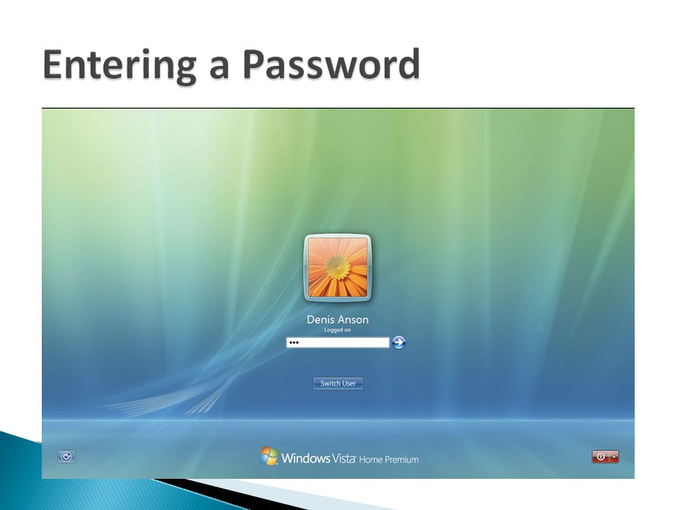 Entering a Password