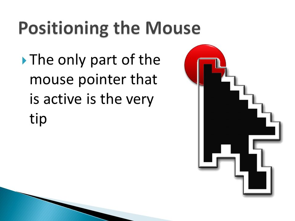 Positioning the Mouse The only part of the mouse pointer that is active is the very tip