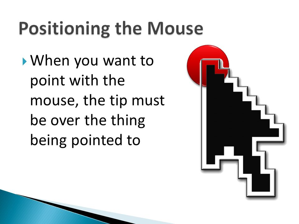 Positioning the Mouse When you want to point with the mouse, the tip must be over the thing being pointed to.
