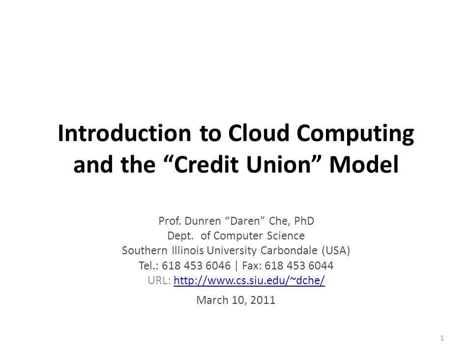 Introduction to Cloud Computing and the Credit Union Model