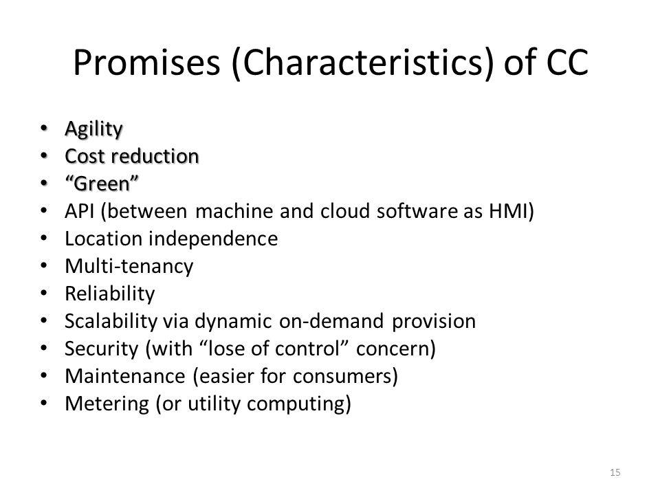 Promises (Characteristics) of CC