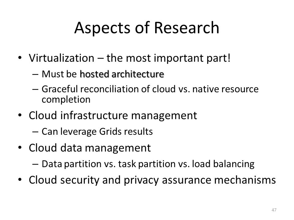 Aspects of Research Virtualization – the most important part!