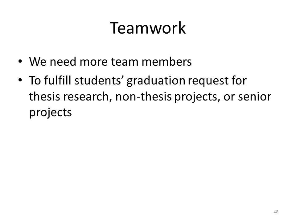 Teamwork We need more team members
