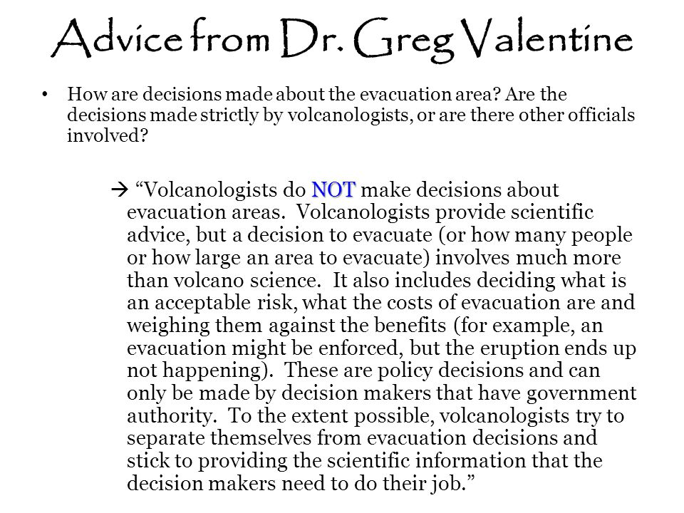 Advice from Dr. Greg Valentine