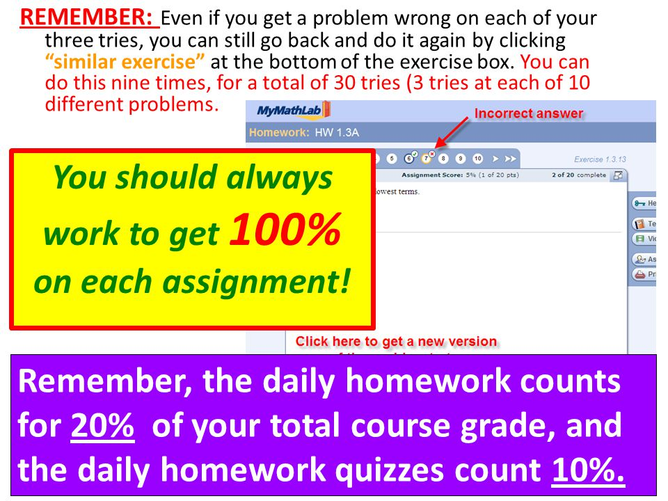 You should always work to get 100% on each assignment!