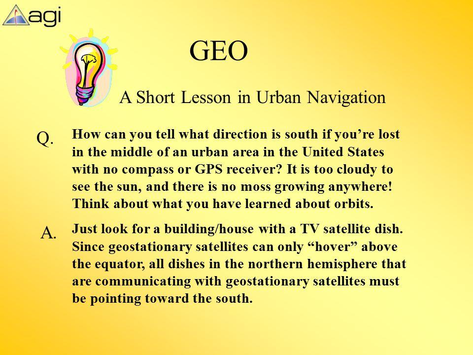 GEO A Short Lesson in Urban Navigation Q. A.