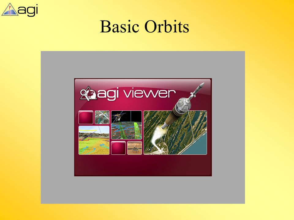 Basic Orbits This slide displays the optional AGI viewer file BasicOrbits_v9_2.vdf. An Introduction to Orbits.