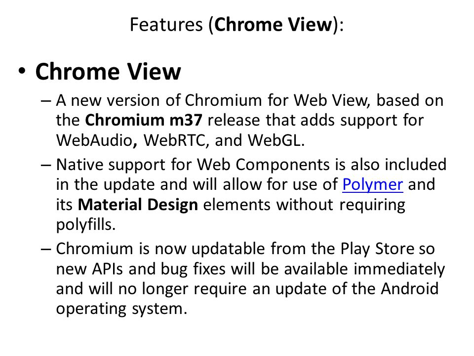 Features (Chrome View):