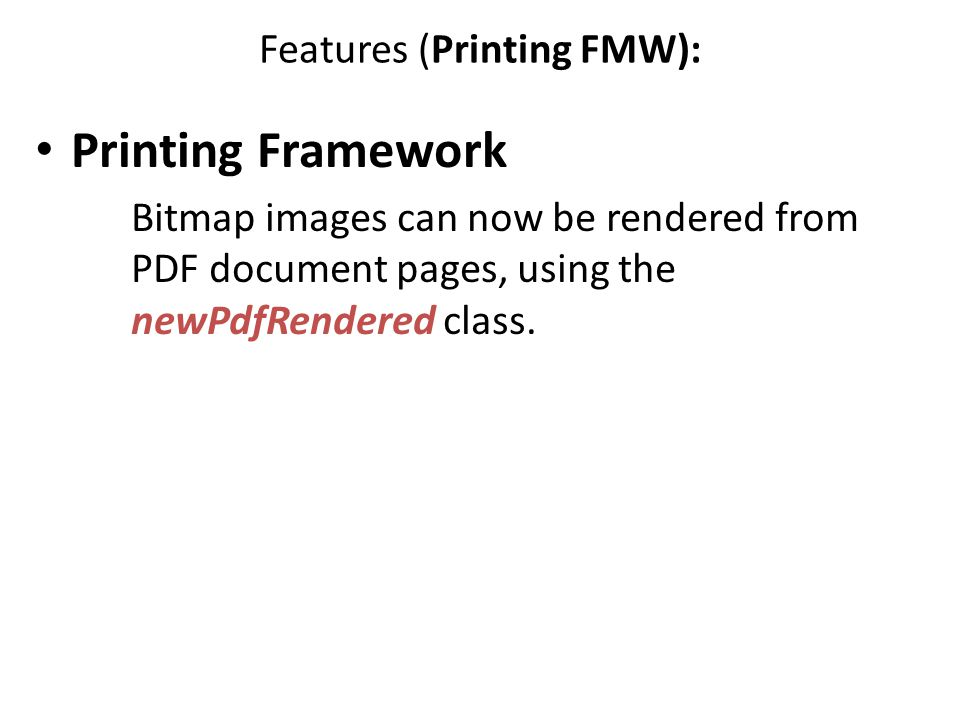 Features (Printing FMW):