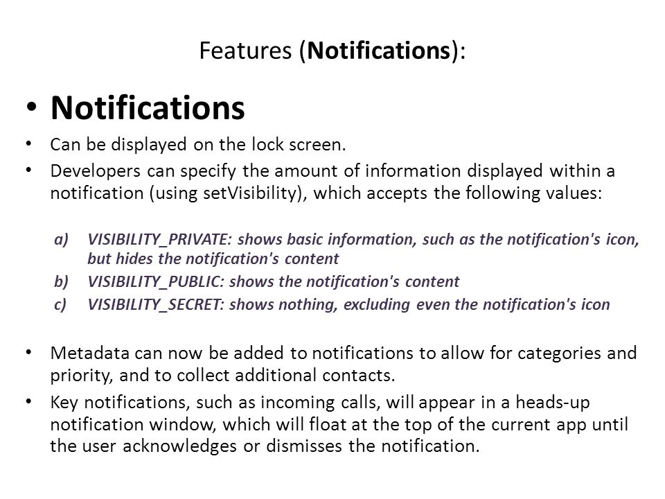 Features (Notifications):
