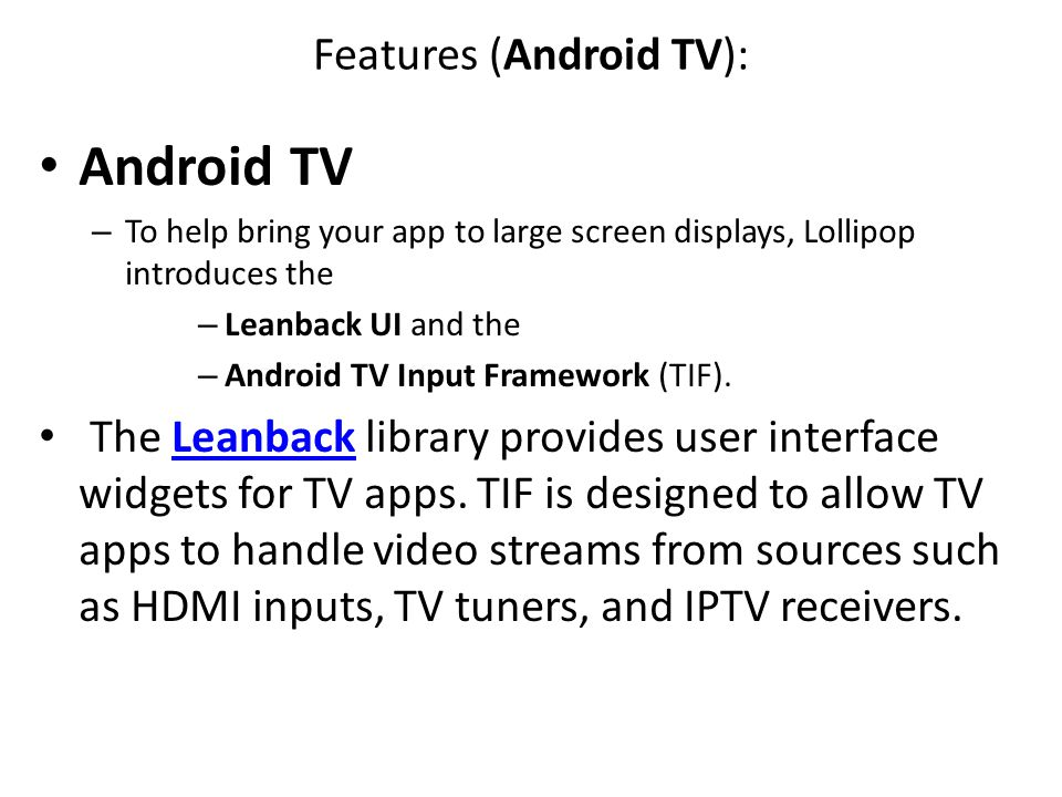 Features (Android TV):