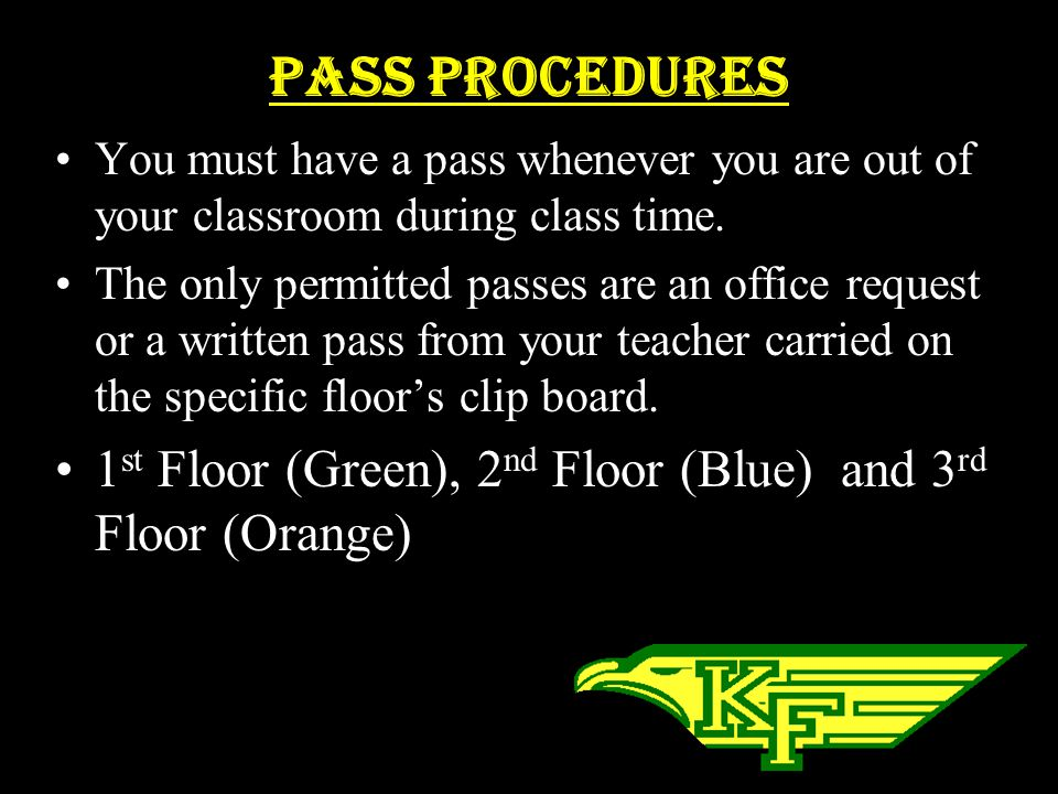 PASS Procedures You must have a pass whenever you are out of your classroom during class time.