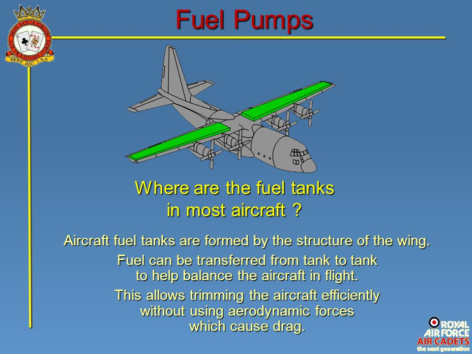 Fuel Pumps Where are the fuel tanks in most aircraft