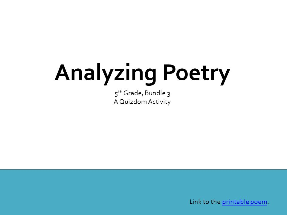 Analyzing Poetry 5th Grade, Bundle 3 A Quizdom Activity