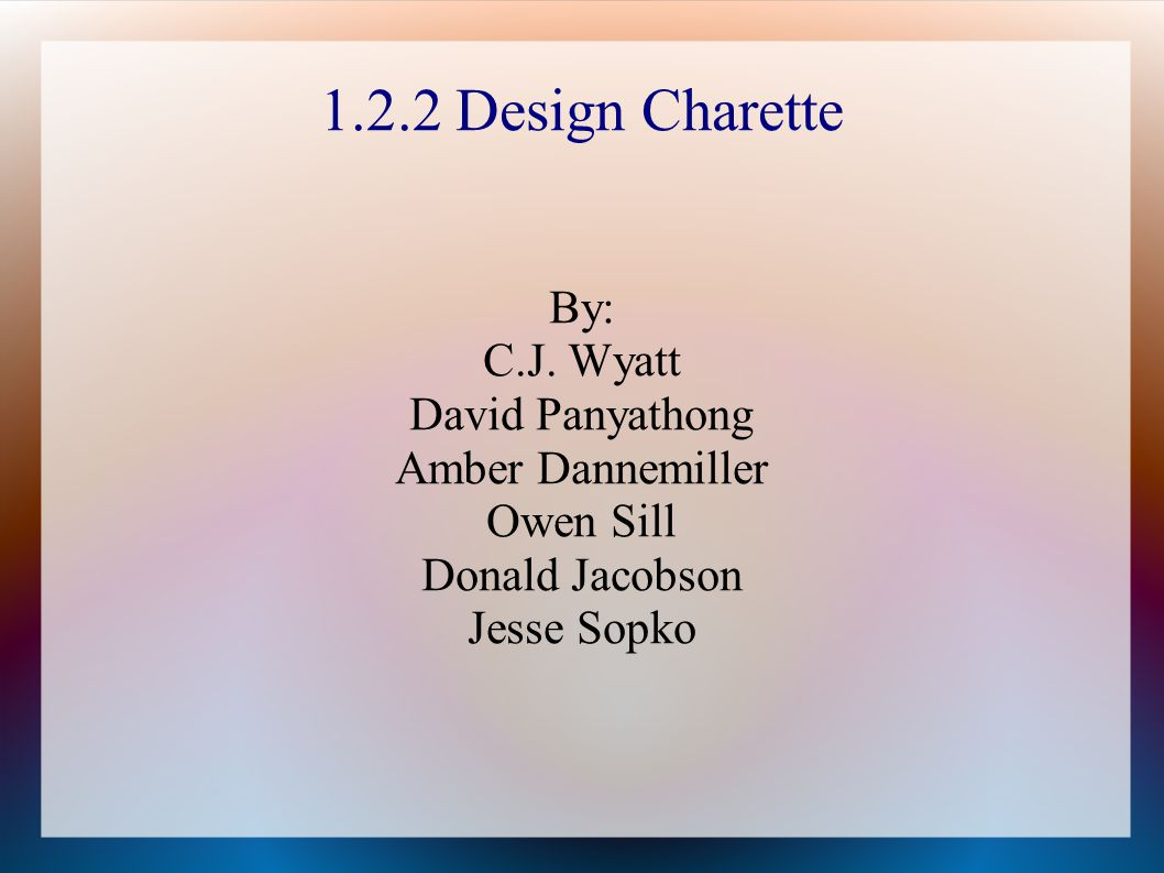 1.2.2 Design Charette By: C.J. Wyatt David Panyathong