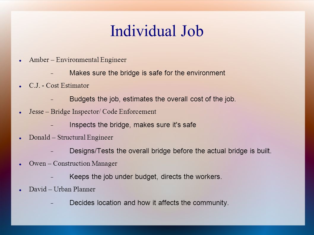 Individual Job Amber – Environmental Engineer