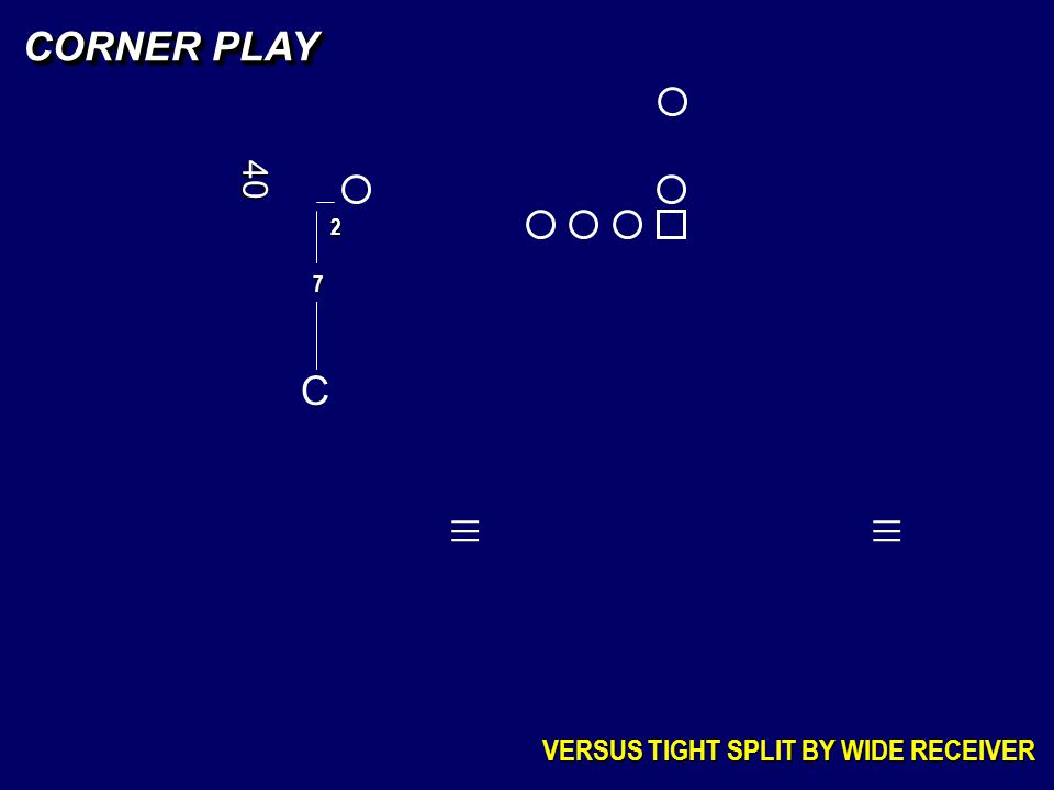 CORNER PLAY 40 2 7 C _ _ _ _ _ _ VERSUS TIGHT SPLIT BY WIDE RECEIVER