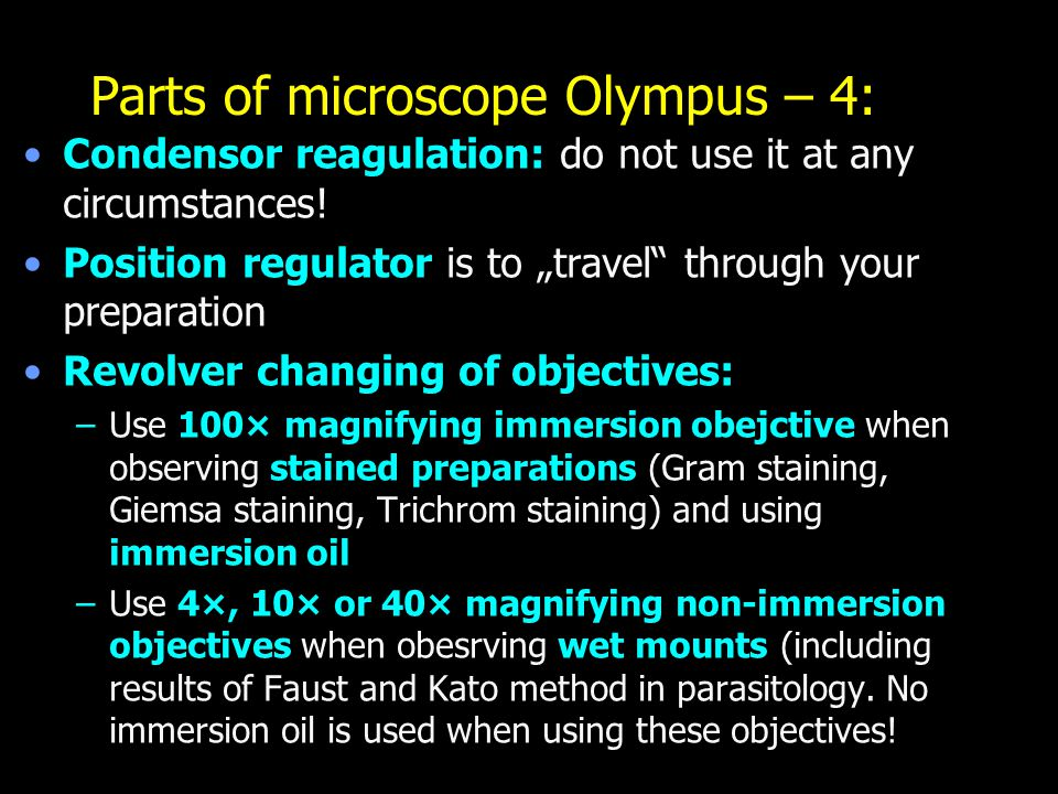 Parts of microscope Olympus – 4: