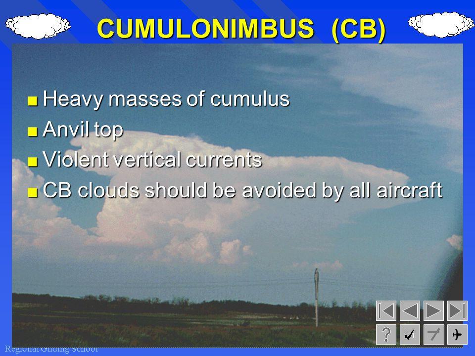 CUMULONIMBUS (CB) Heavy masses of cumulus Anvil top