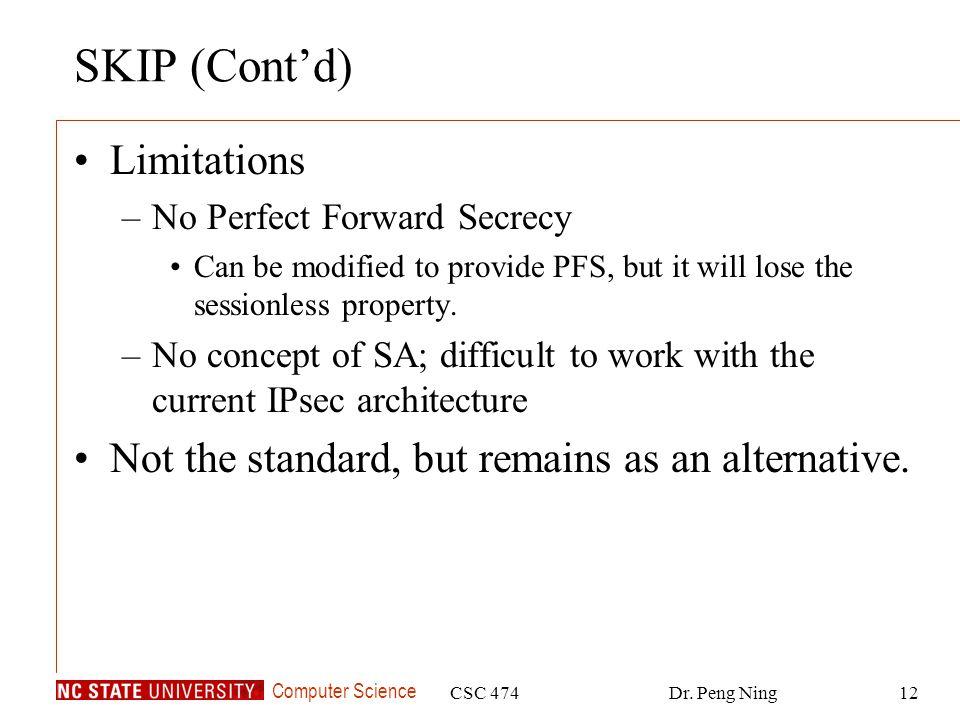 SKIP (Cont'd) Limitations