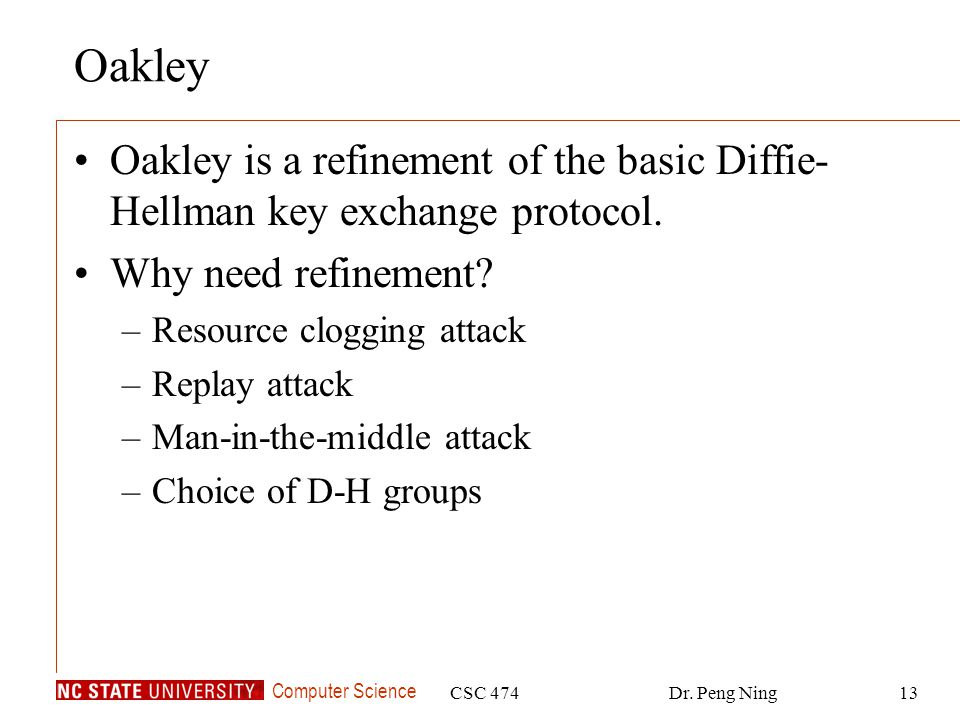 Oakley Oakley is a refinement of the basic Diffie-Hellman key exchange protocol. Why need refinement