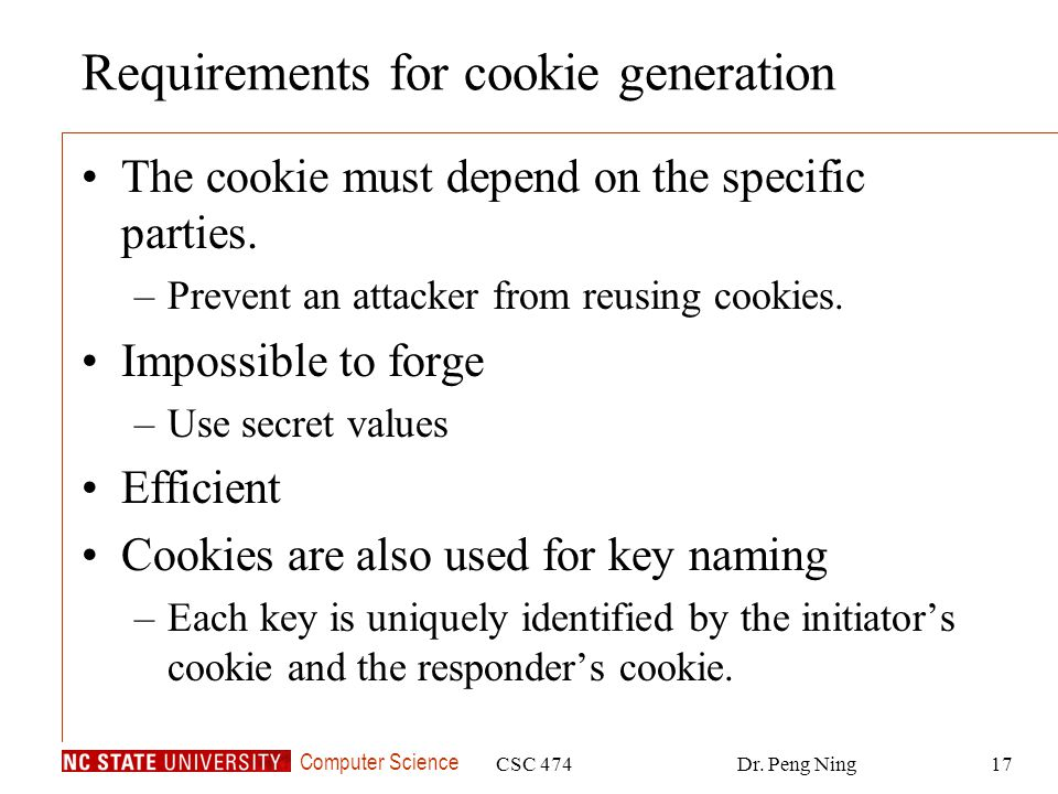 Requirements for cookie generation