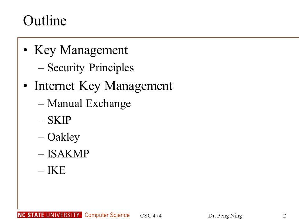 Outline Key Management Internet Key Management Security Principles