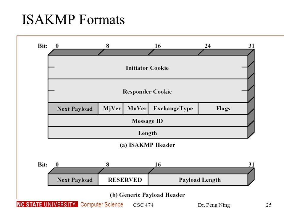 ISAKMP Formats CSC 474 Dr. Peng Ning